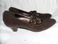 ECCO WOMEN'S BROWN SUEDE LEATHER STRAP SHOES SIZE UK 5 EU 38 VGC
