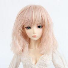 8-9'' 1/3 BJD Doll SD Wig Dollfie DZ DOD LUTS Medium Long Wavy Charm Pink Hair