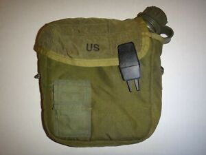 Year 1992 US Military 2-QT Water Canteen With Green OD Nylon Pouch, KTEX Company