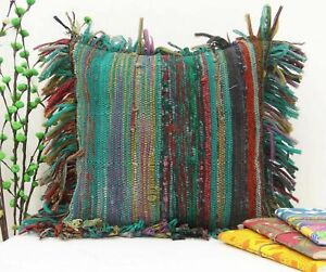 """New Indian Cotton Handmade 18X18"""" Inches Rug Chindi Ethnic Cushion Cover Pillow"""