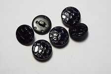 6pc 17mm Gloss Jet Black Snake Skin Effect Coat Cardigan Kids Button 2673