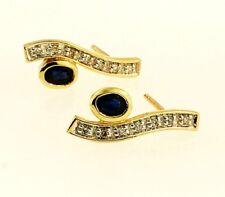 9Carat Yellow Gold Sapphire & Diamond Stud Earrings (7x17mm)