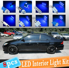 8-pc Blue 10K LED Interior Light Package Kit Fit 2001-2005 Honda Civic LX EX Si