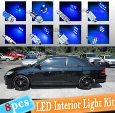 8-pc Blue 10K LED Interior Light Package Kit Fit 2001-2005 Honda Civic LX EX Si