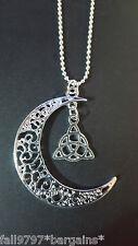 Luna celtica Trinity Knot Triquetra Ciondolo su una Collana a Sfere Placcato Argento i1