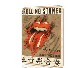 Metal Tin Sign The Rolling Stones 14 On Fire Tour Tokyo Dome Concert Poster Art