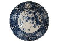 "Vintage Collectible Japanese 8"" Bowl Decorative Blue Floral Pattern"
