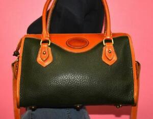 VTG DOONEY & BOURKE Green & Brown ZipTop Satchel Crossbody Bag Purse (R721)