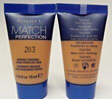 2 x Rimmel Match Perfection Foundation 203 True Beige Travel/Sample Size 15ml