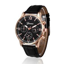 Fashion Men's Geneva Stainless Steel Leather Analog Quartz Boy Sport Wrist Watch