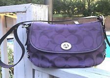 COACH Signature Canvas Purple C Flap Shoulder Bag Crossbody Duffle F15171Purse