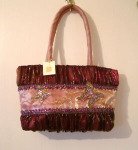 New Ladies Pink Beaded Fabric Butterfly Handbag, from Shudehill Giftware - BNWT