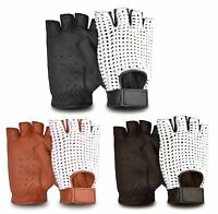 VINTAGE UNISEX FINGERLESS SOFT DRIVING GLOVES CROCHET WHEELCHAIR BIKE CHAUFFEUR