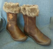 Brown Furry Boots Girls UK sz 2/ EUR 34 / US 3 by Hanna Andersson Style Brigitta