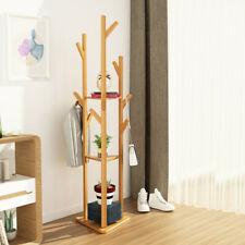 Bamboo Coat Rack Stand Clothes Hanger Hat Jacket Bag Umbrella Scarf Hook w Shelf