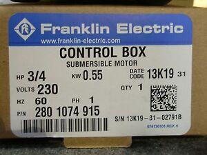 3/4 HP 230V Franklin QD Control Box Submersible Water Pump #2801074915 NEW