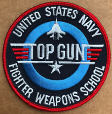 TOP GUN US NAVY WEAPONS SCHOOL EMBROIDERED PATCH 4 Inches