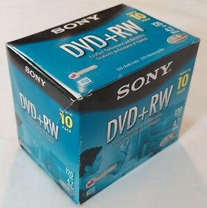 NEW Sony 9 Pack DVD+RW 120 Min & 4.7 GB Blank Rewritable Discs Jewel Cases - NOS