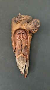 Vintage Hand Carved Signed Wood Spirit Old Man Face Tree Sculpture by Ray