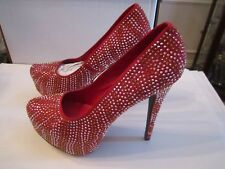 BRECKELLE'S RED CRYSTAL STILETTO'S SHOES - SIZE 10 IN BOX - GOLD/SILVER CRYSTALS