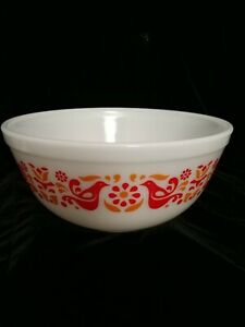 Vintage Pyrex # 403 Friendship Nesting Mixing Bowl Red, Gold  Bird Flowers