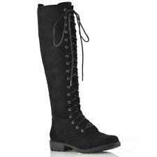 695cd23eeb0d Womens Knee High Lace Up Calf Biker Ladies Zip Punk Military Combat Army  Boots