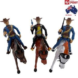 Set of 3 Hard Plastic Figure Toy Western Cowboy Soldier Horse Kids Children Toys
