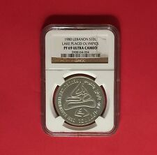 LEBANON -10 LIVRES SILVER PROOF COIN,WINTER OLYMPIC 1980 ,GRADED NGC PF 69..RARE