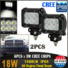 2x 4inch 18W CREE LED Work Light Bar Flood Offroad Fog Fit for Jeep SUV 4WD ATV