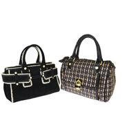 Auth Samantha Thavasa 2-piece Set Suede,Patent Leather Handbag Black 03GA334