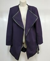 Focus 2000 Womens 4 Open Front Jacket Purple Textured Faux Leather Trim New