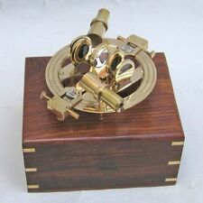 """8"""" BRASS SEXTANT ROUND IN WOODEN BOX ~ NAUTICAL ~ MARITIME DECOR ~ PIRATE ~"""