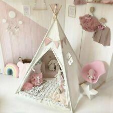 Tipi Zelt Kinderzelt Kinder Spielzelt Spielhaus Baumwolle Drinnen Draußen Weiß