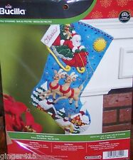 Bucilla New OVER THE ROOFTOPS Felt Christmas Stocking Kit Santa Church 86450 OOP