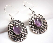 Amethyst Etched Lines Earrings 925 Sterling Dangle Drop Oval Ellipse New