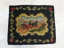 BEAUTIFUL EARLY 20TH CENTURY PICTORIAL HOOKED RUG OF HORSE AND BUGGY