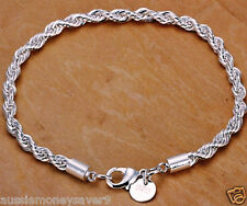 925 sterling silver Plated Bracelet twisted rope chain UNISEX L 20cm FREE GIFT