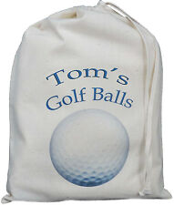 PERSONALISED - GOLF BALLS BAG - SMALL NATURAL COTTON DRAWSTRING BAG -Blue design