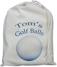 PERSONALISED - GOLF BALLS BAG - SMALL NATURAL COTTON DRAWSTRING BAG -Blue design