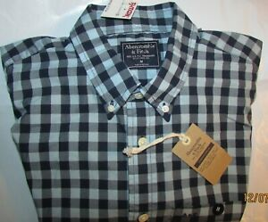 NWT Abercrombie & Fitch Medium M L/S Navy/Lt. Blue & Grey Checkered Pocket Shirt
