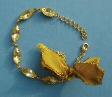 Vintage Brass Yellow Navette Gem Silk Ribbon Bow Gold Plated Bracelet Handmade