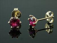 585 Gold  Ohrstecker  mit 6 Krappen 1 Paar 6 mm Grösse mit  Rubinen