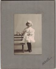 Young Girl Standing by Bench - Cabinet Photo Early 1900s San Francisco - Named
