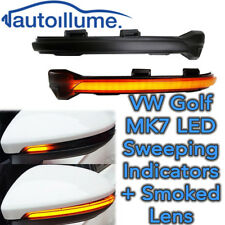 Sweeping Dynamic LED Wing Door mirror indicator light lamp Golf Mk7 GTi R Smoked