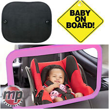 Baby on Board Sign, Window Sun Shades & Pink Baby Car Seat Mirror Car Safety Kit