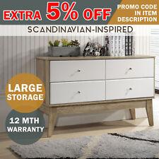 MEYA Scandinavian 4 Drawer Sideboard Buffet Storage Large Cabinet Desk Cupboard