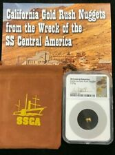 1857 SS Central America California Gold Rush Nugget .29g NGC Certified W / Pouch