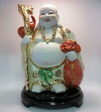 Feng Shui Lucky Happy Laughing Wealthy Buddha Porcelain on Rosewood Stand 25cm