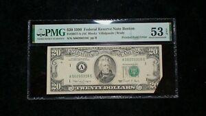 1990 $20 Federal Reserve Note PMG AU53 EPQ BOSTON PRINTED FOLD ERROR $20 Bill