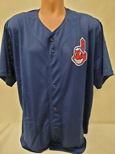 1324 Mens Majestic CLEVELAND INDIANS Full Button Down Baseball JERSEY BLUE New